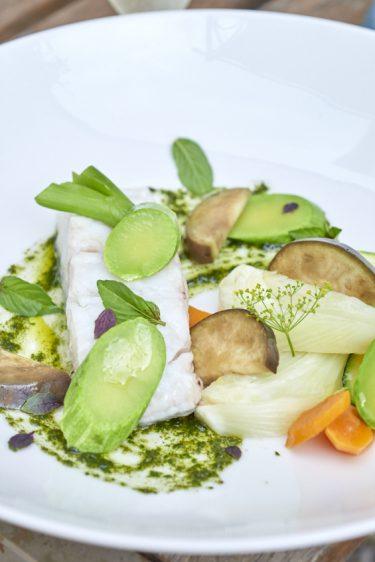 recette de cabillaud, légumes d'été au pistou cuits à la vapeur