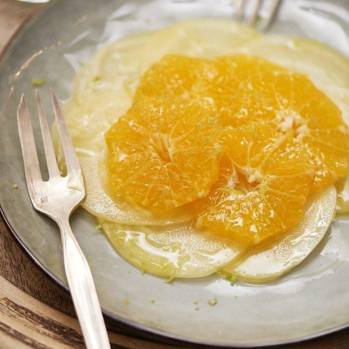 Carpaccio de betterave jaune et mandarine