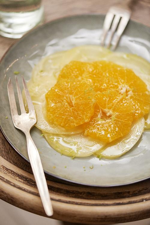 recette de carpaccio de betterave jaune et mandarine