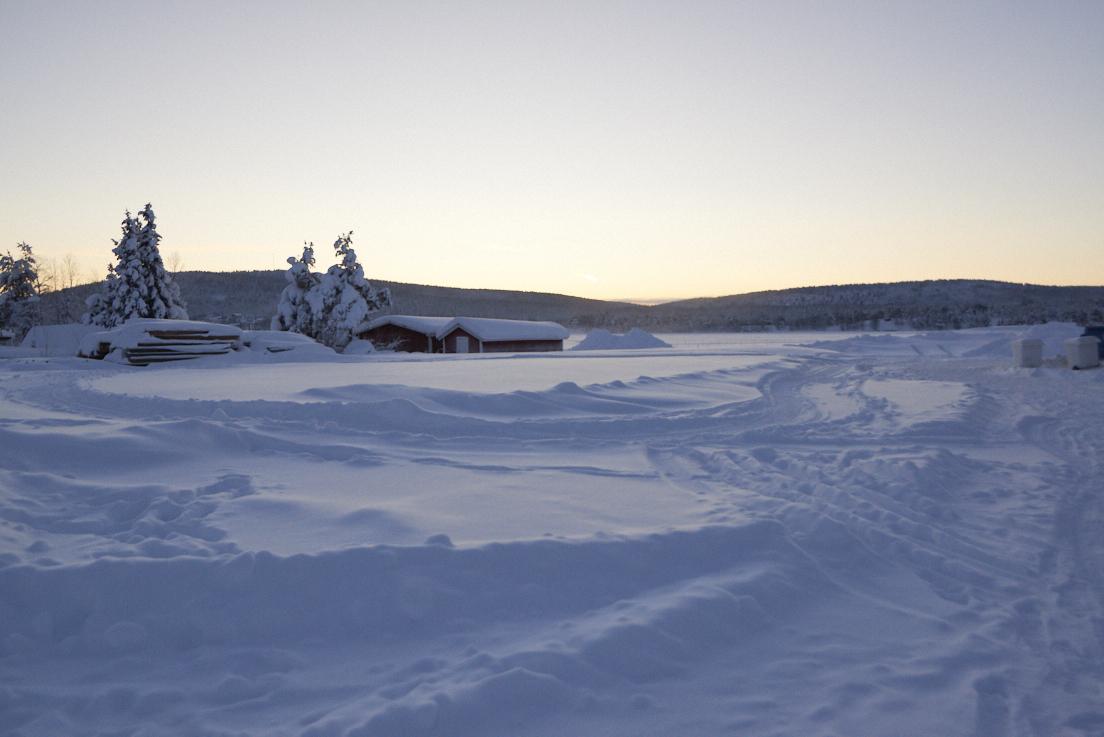 Paysages enneigés en Laponie Suédoise Kiruna