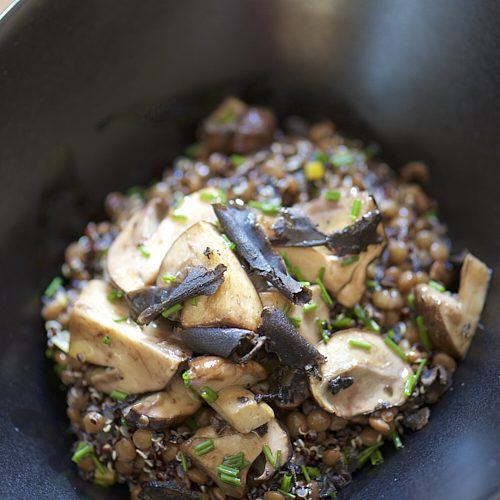 recette de salade de lentillons de Champagne, quinoa noir, cèpes et truffe