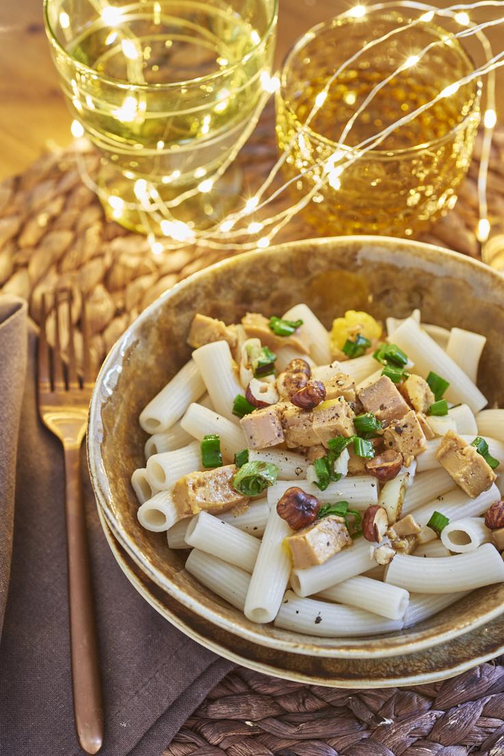 macaroni foie gras noisettes cebettes