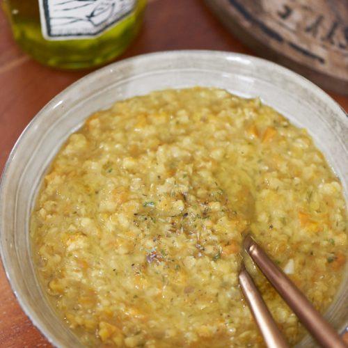 Soupe de lentilles corail, carottes, fenouil et thym