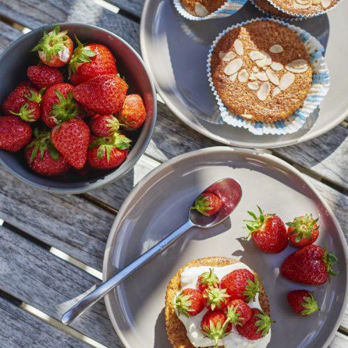 recette de Gâteaux à la farine de maïs, fraises