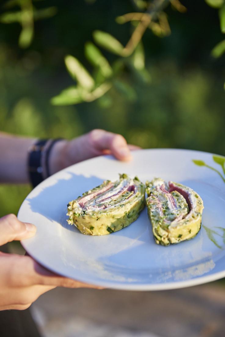 recette de roulé aux courgettes et au jambon
