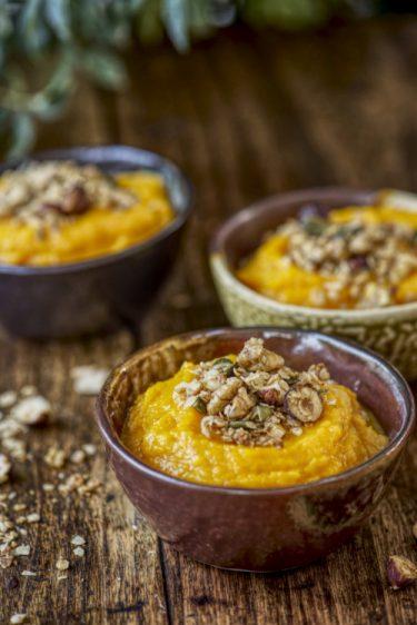 recette de purée de potimarron granola salé