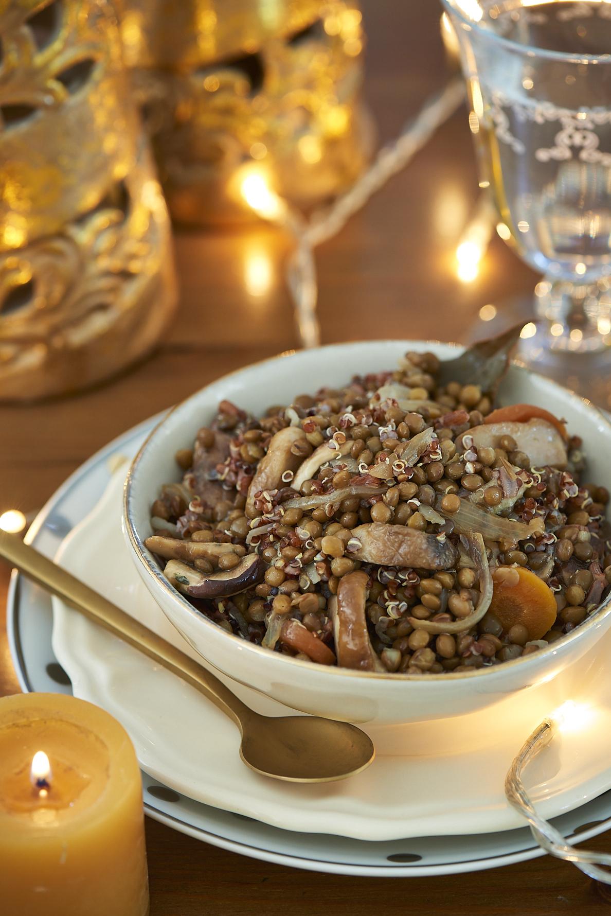 recette de salade de lentilles et quinoa aux cèpes