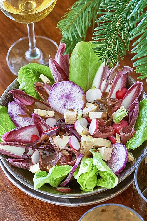 recette de salade folle aux endives carmines et foie gras