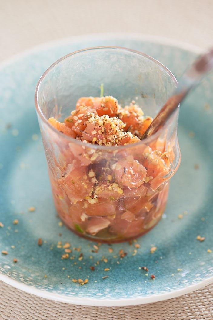 recette de tartare de saumon au dukkah