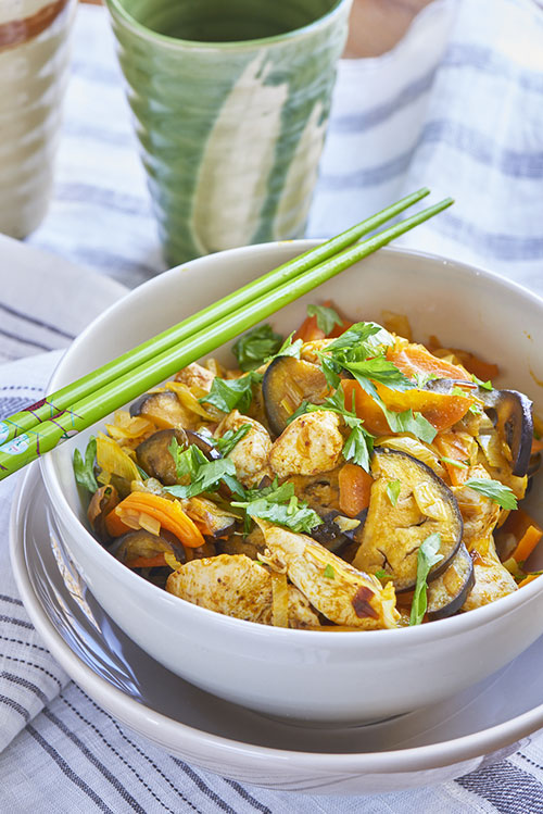 Wok de poulet tandoori