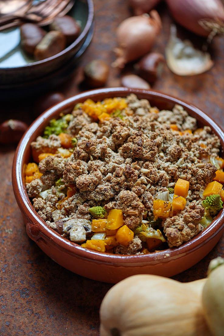 recette de crumble de légumes d'hiver sans gluten