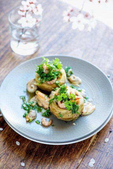 recette de fond d'artichauts et fruits de mer, vinaigrette aux herbes