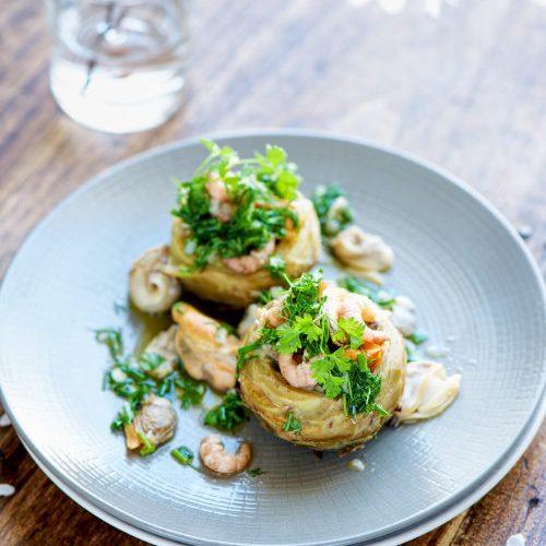 recette d'artichaut, fruits de mer et vinaigrette