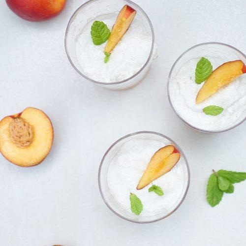recette de mousse à la menthe et coulis de nectarine