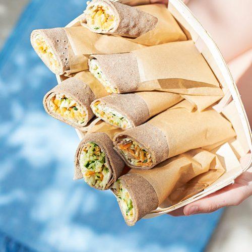 recette de wrap au sarrasin et légumes crus et cuits