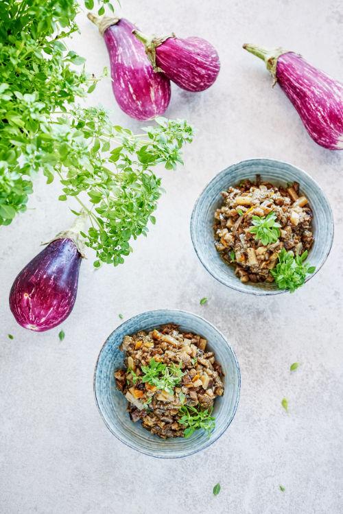 recette de fondue d'aubergine et poivron jaune