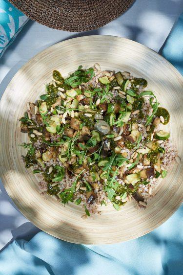 recette de salade de sarrasin, pistou et légumes grillés