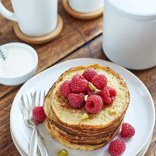 recette de pancakes aux framboises sans gluten