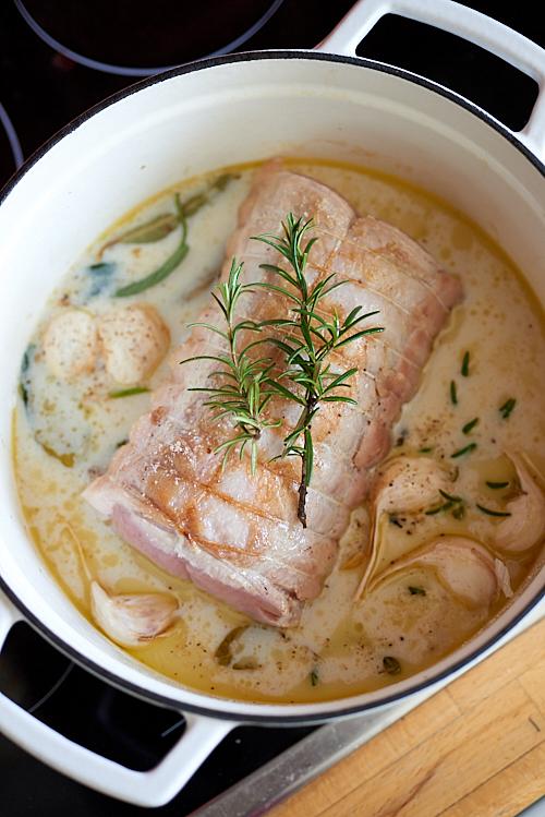 recette de rôti de porc au lait d'amande