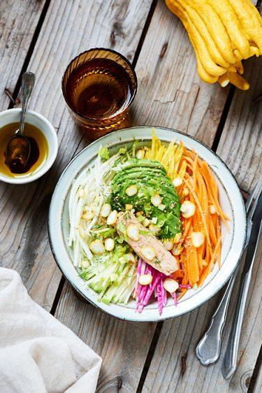 recette de buddha bowl à la main de bouddha