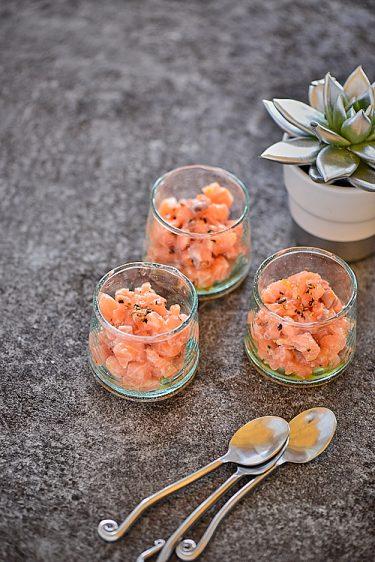 Recette de Tartare de saumon à l'orange et mélange du trappeur