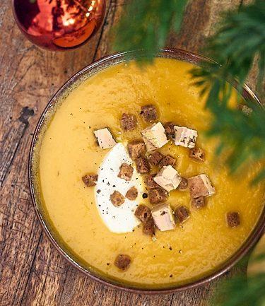 recette de velouté de butternut au foie gras