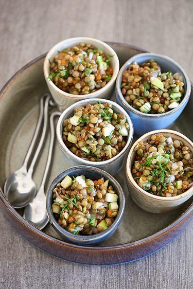 recette de verrines de lentilles aux oeufs de truite