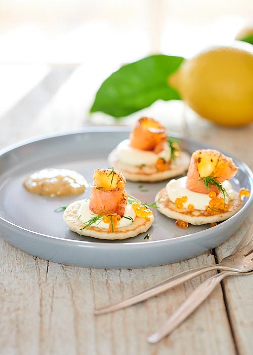 Blinis au sarrasin et saumon mariné