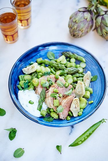 recette de canon d'agneau aux légumes de printemps