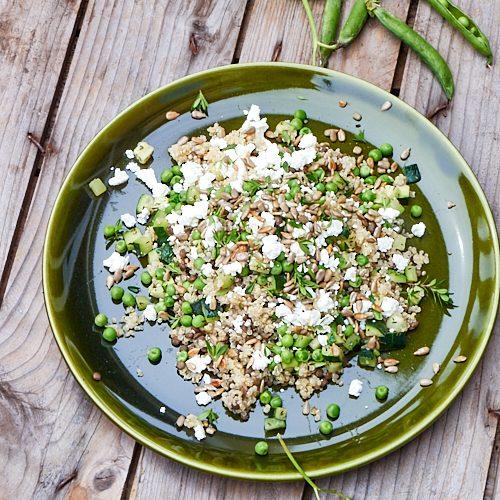 Salade de quinoa, lentilles, petits pois et féta