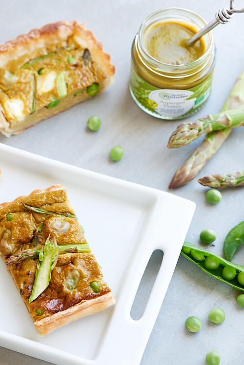 recette de tarte aux asperges vertes et légumes de printemps