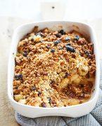 recette de crumble sans gluten aux pommes, rhubarbe et granola