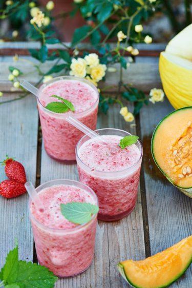 recette de Granité aux deux melons et à la fraise, mélisse