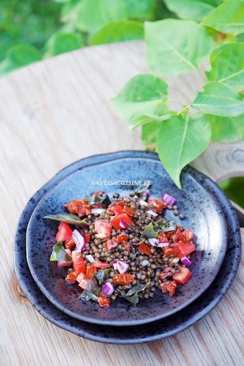 recette de salade de lentilles beluga, tomates