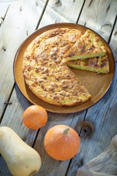 recette de gâteau de courge, lardons et mozzarella