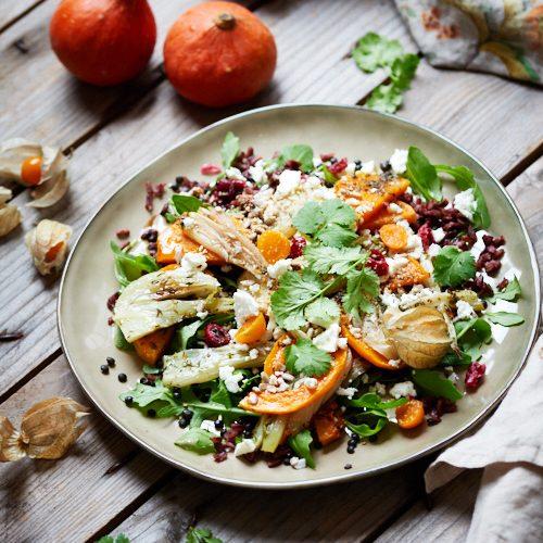 Salade d'automne à la butternut, fenouil et riz noir