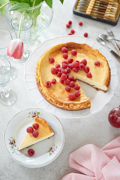 cheesecake framboise decoupe