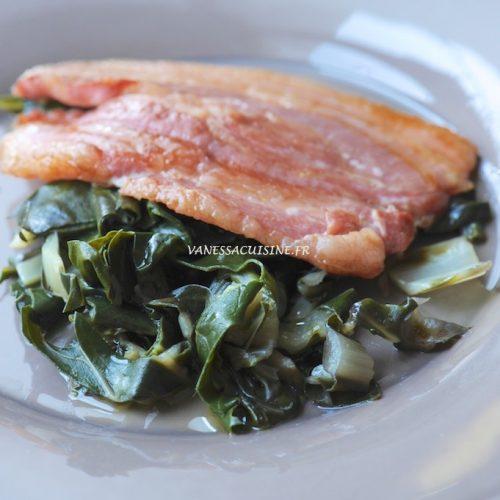 recette de poitrine de porc mariné, wok de blettes au gingembre