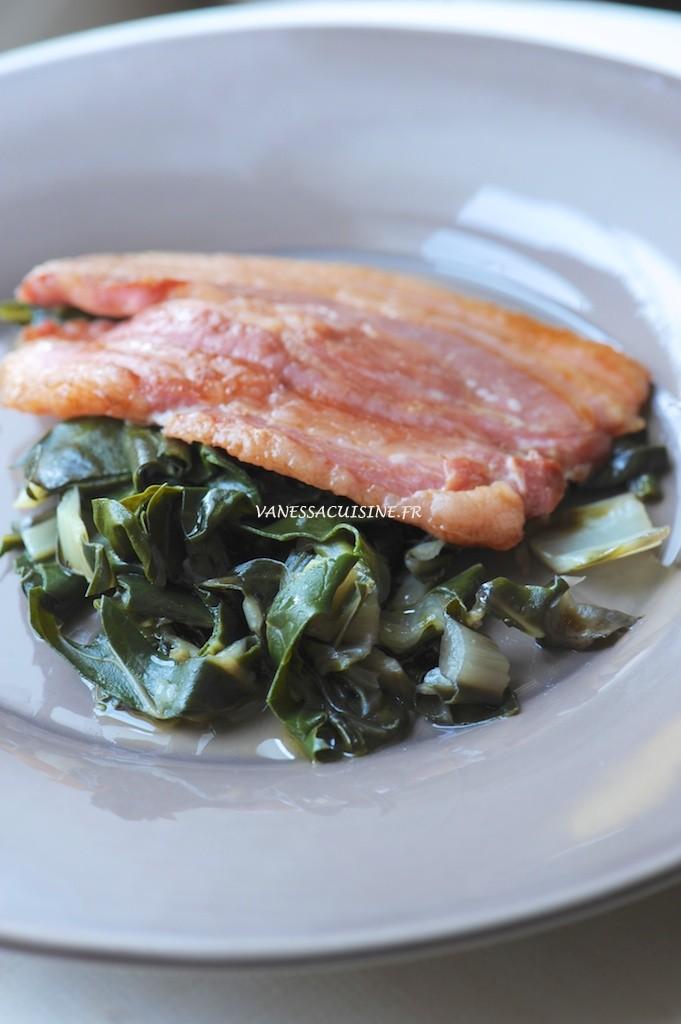 poitrine porc wok blettes