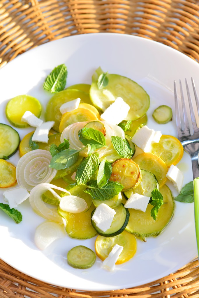 salade courgettes cebettes grillees brebis