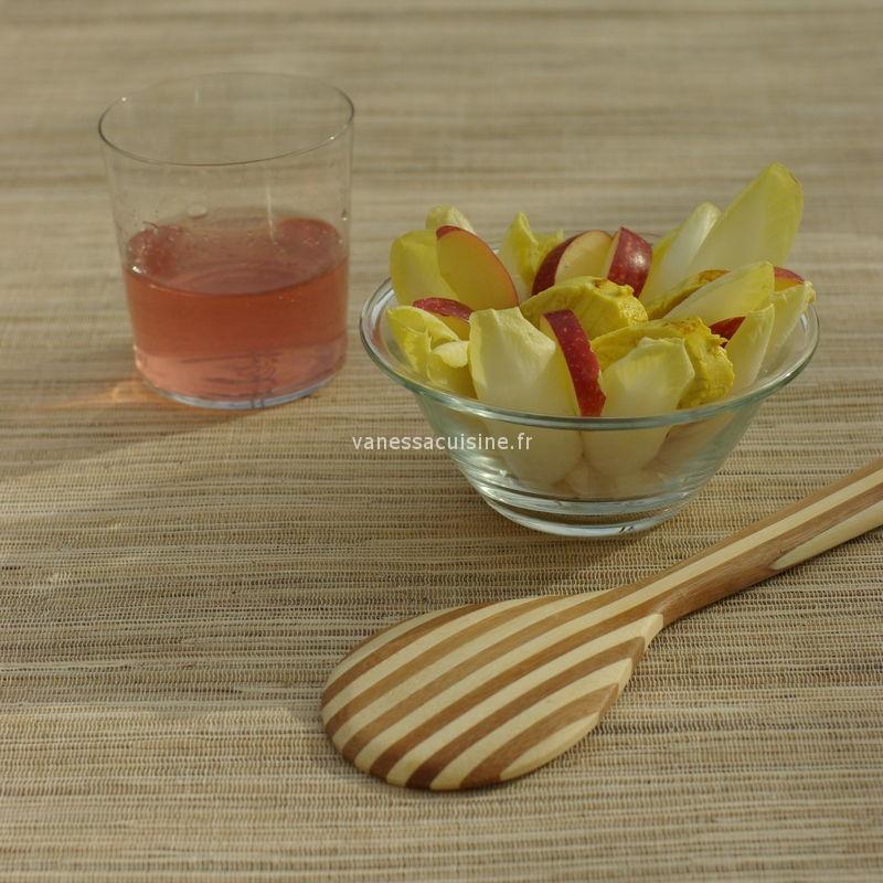 salade endive poulet pomme curry