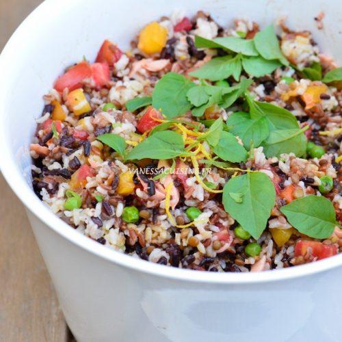 recette de salade de riz de Camargue, lentillons et saumon