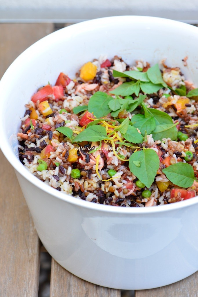 salade riz saumon lentillons