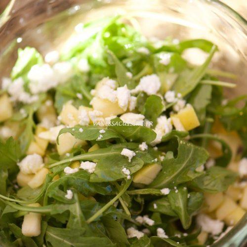 recette de salade de roquette, pommes et feta