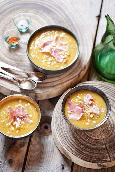 recette de soupe de patate douce et jambon grillé