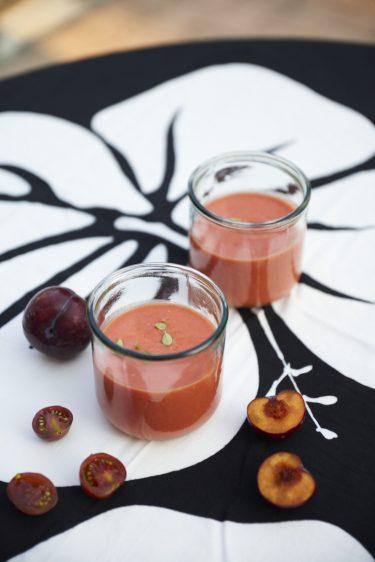 recette de gaspacho de tomates et prunes