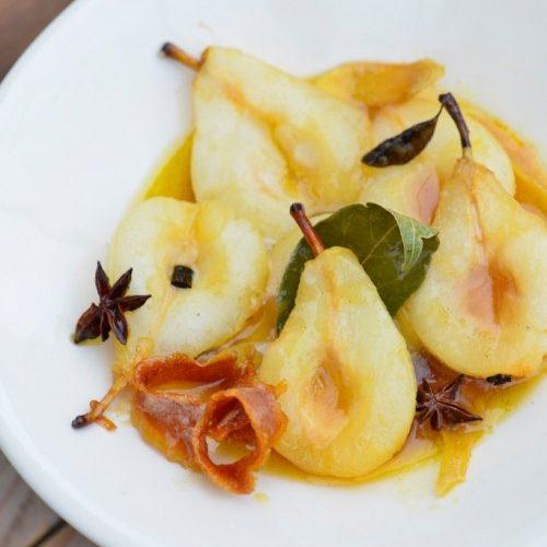 recette de poires rôties au miel et beurre demi-sel, épices douces