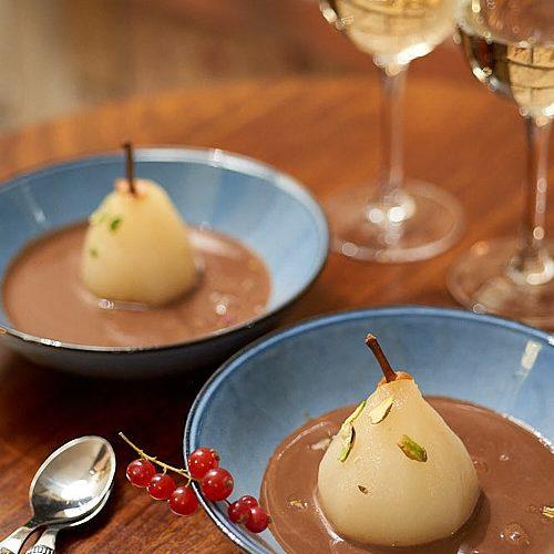 recette de soupe au chocolat et poires pochées au poivre du Sichuan