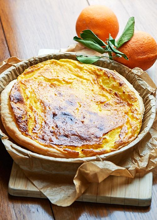 Tarte à l'orange et crème fraîche