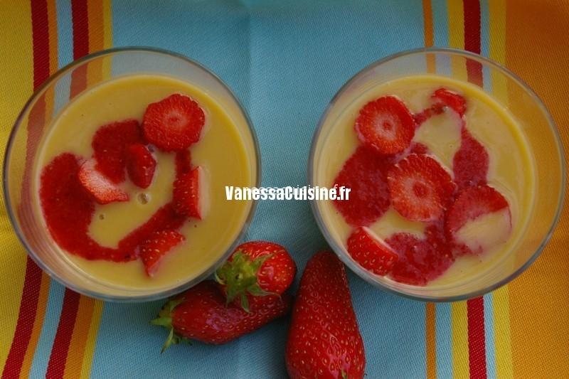 recette de Soupe de chocolat blanc au lait coco et passion